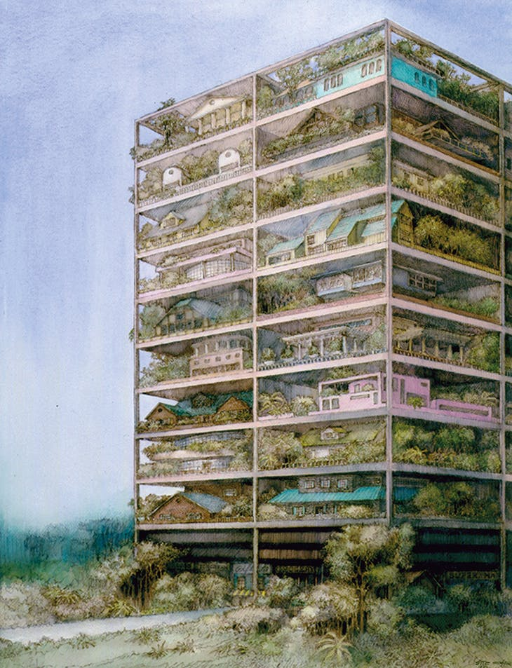 Watercolour rendering of 'High-rise of Homes', an unrealised residential project designed by James Wines & SITE in 1981. © SITE New York
