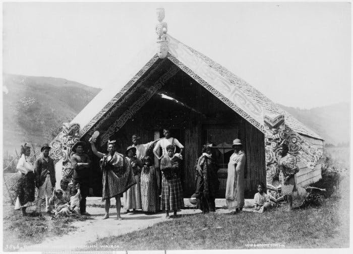 A Maori group in front of Hinemihi at Te Wairoa, photographed by the Burton Brothers between 1880–86 (before the volcanic eruption of 10 June 1886).