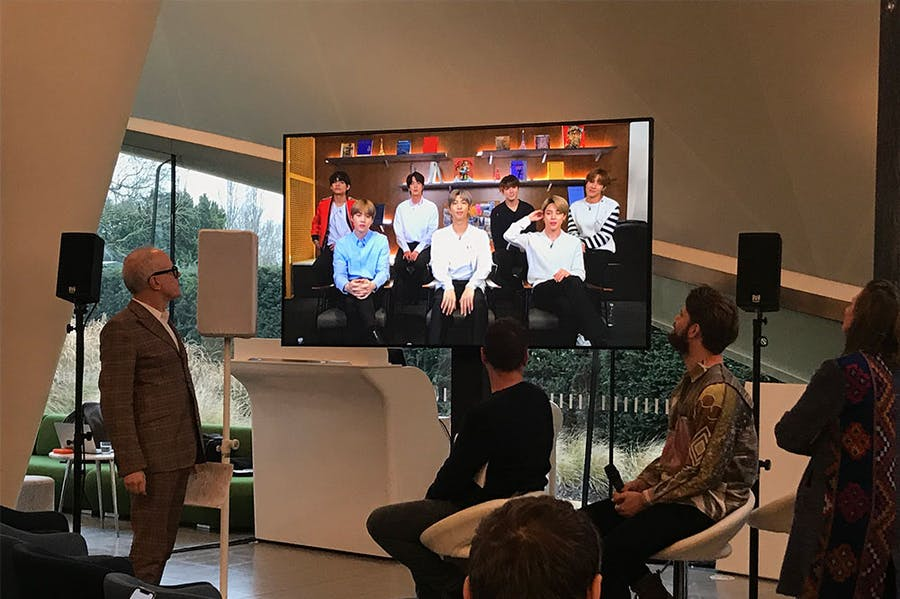 K-pop group BTS field questions from Hans Ulrich Obrist at a press conference on 14 January 2019 at the Serpentine in London