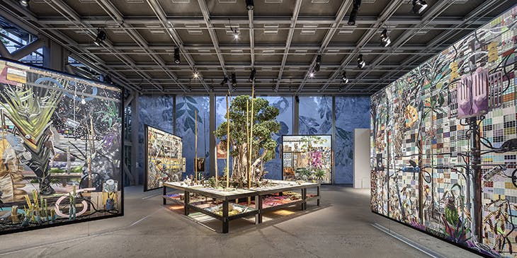 Installation view of Luiz Zerbini's table herbarium in 'Nous les Arbres' at the Fondation Cartier in Paris.