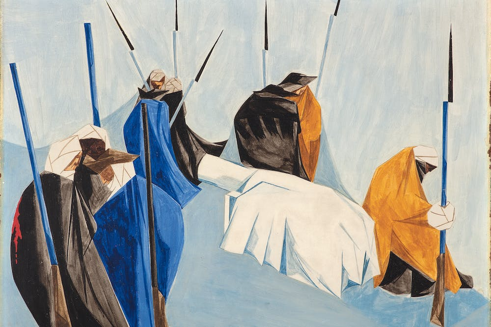 he summer soldier and the sunshine patriot will, in this crisis, shrink from the service of his country. —Thomas Paine, 1776 (1954), Panel 9 from Struggle: From the History of the American People (1954–56), Jacob Lawrence.