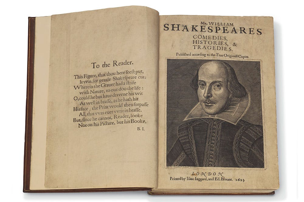 A copy of Shakespeare's First Folio, coming to auction at Christie's, New York, on 24 April.
