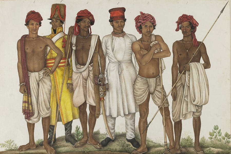 Six Recruits, (1815–16), attributed to the family of Ghulam Ali Khan, India, Haryana. Freer Gallery of Art and Arthur M. Sackler Gallery, Smithsonian Institution.