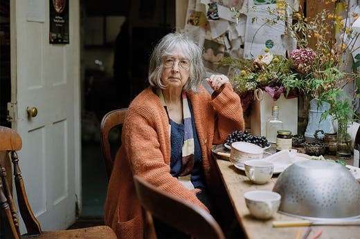 Rose Wylie photographed in her cottage in Kent in November 2019.