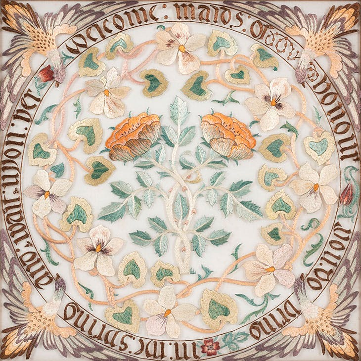 Maids of Honour (detail; c. 1890s), designed and worked by May Morris.