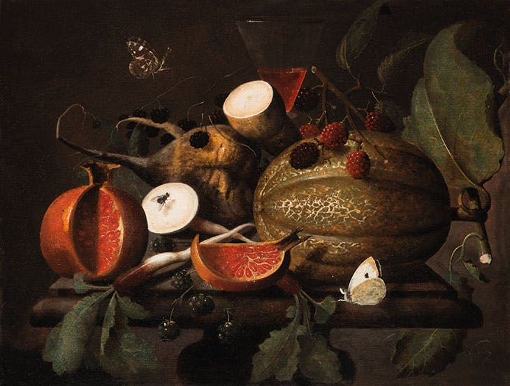 Still life with melon, blackberries, pomegranate, black radishes and butterflies and a glass of wine (1697), Martinus Nellius. Klaas Muller (approx €75,000)