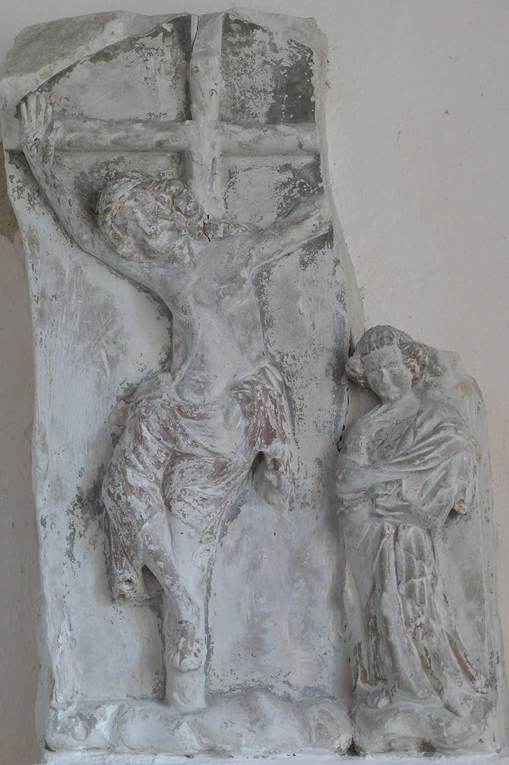 Limestone sculpture of the Crucifixion, dating from c. 1300 at the Parish Church of St Andrew, Orwell. Photo: © James Alexander Cameron