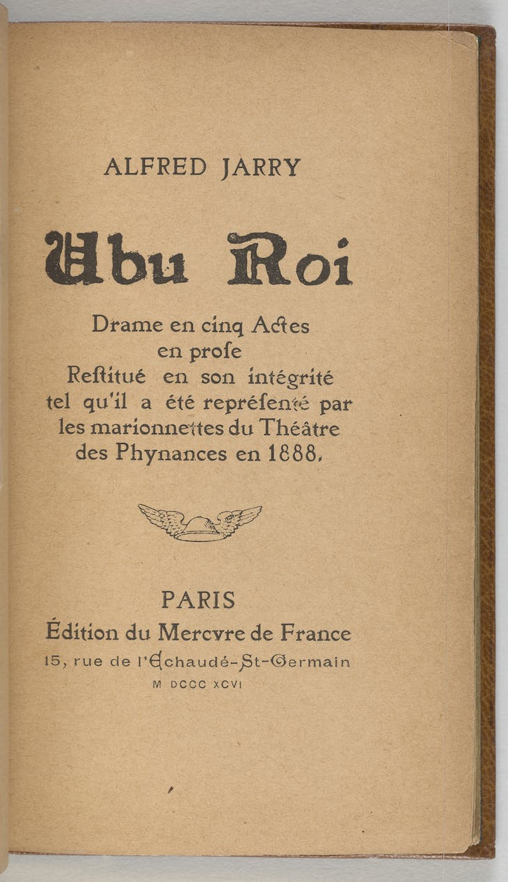 Title page of Ubu Roi (Paris: Mercure de France, 1896), Alfred Jarry.