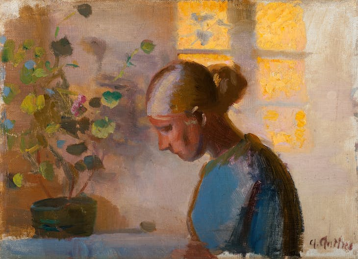 Study of a seamstress in blue (n.d.), Anna Ancher