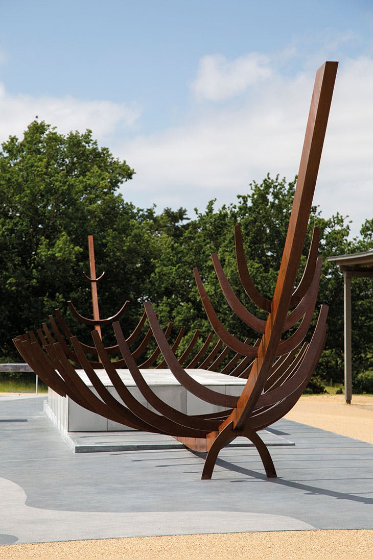 A 'full-size sculpture' of the Anglo-Saxon burial ship from Mound One, Sutton Hoo, installed as part of the redevelopment of visitor facilities and exhibition spaces at the site