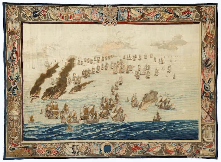 The Burning of the Royal James (Later in the Day)_design Willem van de Velde The Elder (after 1685), Willem van de Velde the Elder.