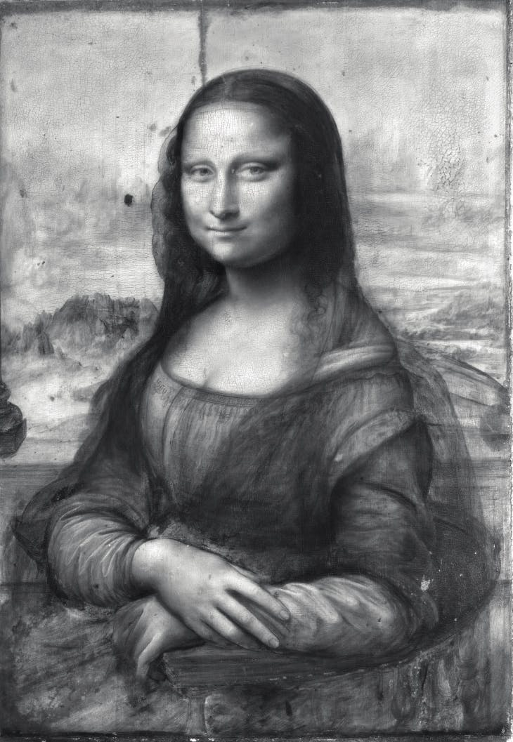 Infrared reflectogram of the Mona Lisa.