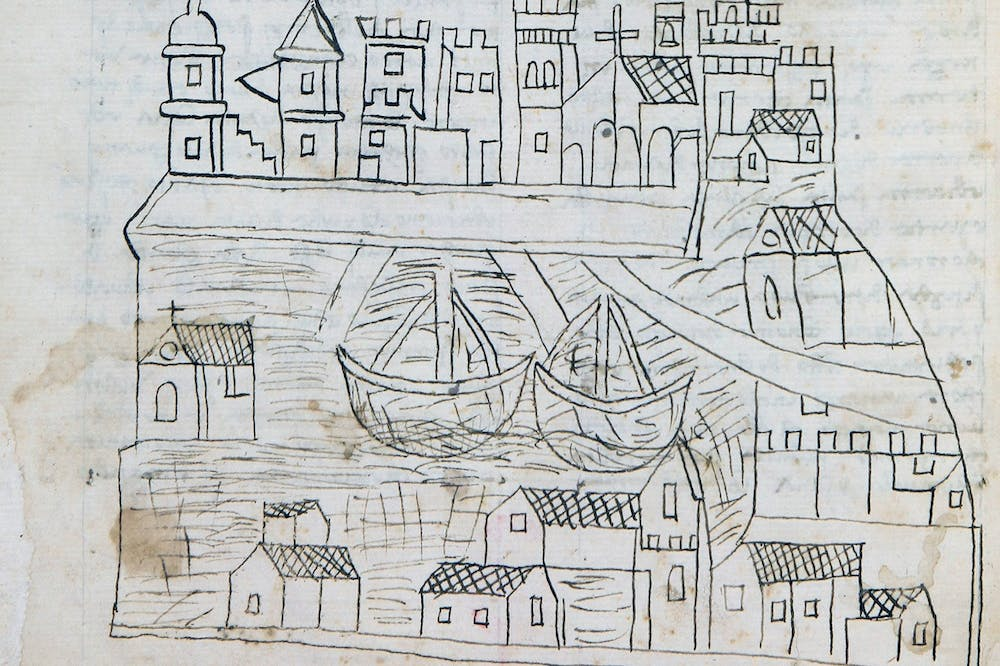 Manuscript page with a drawing of Venice (detail; 1346–50), Fra Niccolò da Poggibonsi.