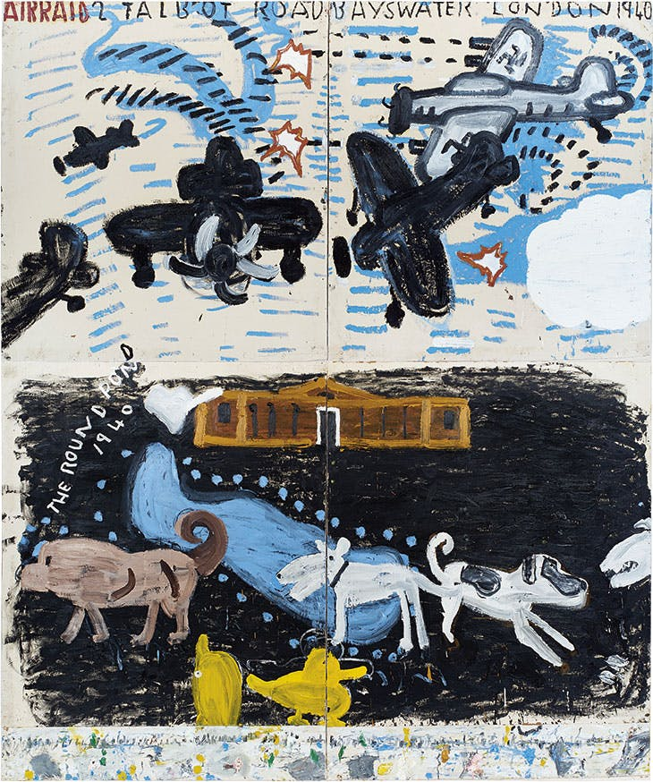 Park Dogs & Air Raid (2017), Rose Wylie.