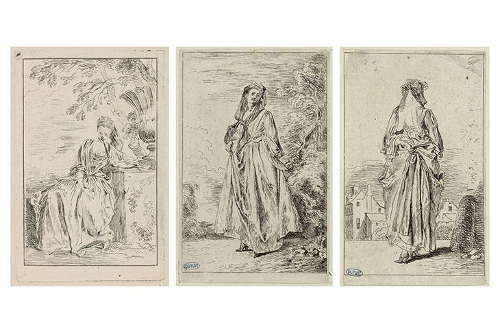 Les figures de modes (3 out of the 6 surviving subjects), (c. 1710), Antoine Watteau. Musée du Louvre, Paris (far left); Petit Palais, Paris. (Left) photo: Musée du Louvre, dist. RMN-Grand Palais/Angèle Dequier