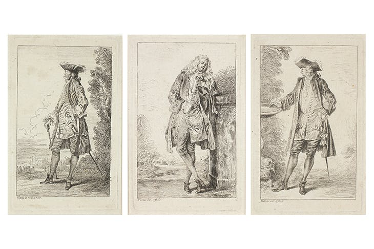 Les figures de modes (3 of the 6 surviving subjects) collected in the 'Recueil Julienne' and published in 1735, after Watteau. Art Institute of Chicago