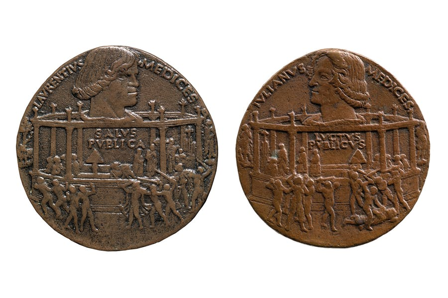 The Pazzi Conspiracy (Lorenzo de' Medici) (1478), Bertoldo di Giovanni (obverse on left from Museo Nazionale del Bargello, Glorence; reverse on right, promised gift to the Frick Collection, New York)