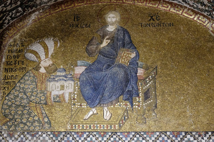 Mosaic of the Enthroned Christ and the Donor, Theodore Metochites above the entrance to the naos of the Kariye (Chora) Museum, Istanbul.