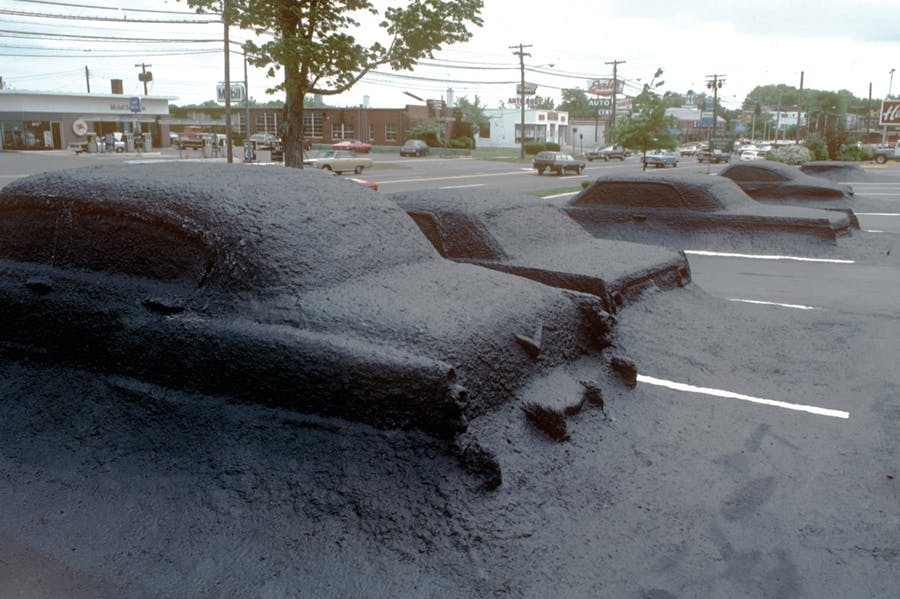 Installation view of 'Ghost Parking Lot' (completed in 1978) at the National Shopping Center in Hamden, Connecticut, by James Wines & SITE. © SITE New York
