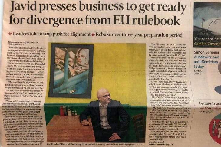 The front page of the Financial Times featuring Tamara de Lempicka's 'Self-Portrait in the Green Bugatti' (top left) and Sajid Javid, the Chancellor of the Exchequer, in Pickles cafe.