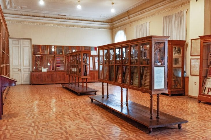 Cabinets designed by Alexander Szymkiewicz and (far wall) the display of jejims in the State Silk Museum, Tbilisi.