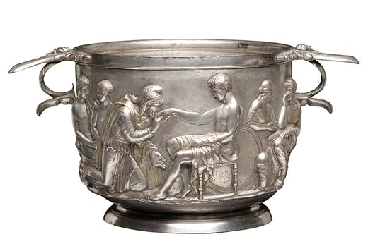 Silver cup showing Priam supplicating Achilles, Roman, 1st century. National Museum of Denmark. Photo: Roberta Fortuna and Kira Ursem; © National Museet Denmark Photo: Roberta Fortuna and Kira Ursem; © National Museet Denmark