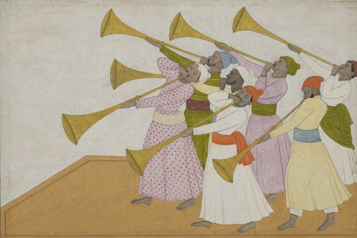 The Trumpeters (c. 1735–40), Nainsukh of Guler.