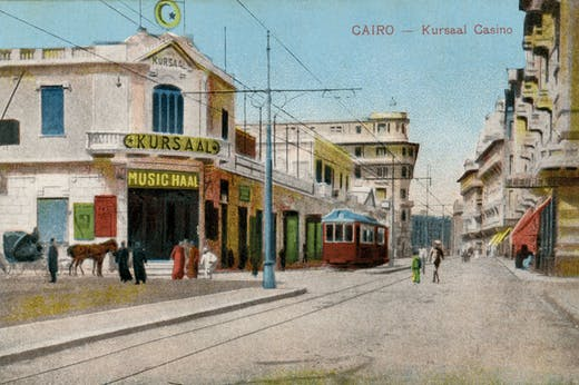 A postcard showing the Kursaal Casino and Music Hall, which was on Alfi Bey Street in the Ezbekiyya district of Cairo.