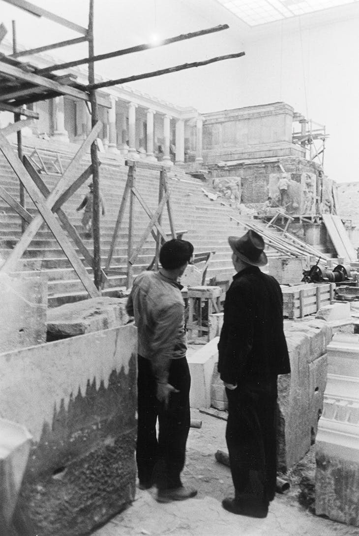 The restoration of the Pergamon Altar, which had been taken from Berlin to the Soviet Union and returned in 1955.