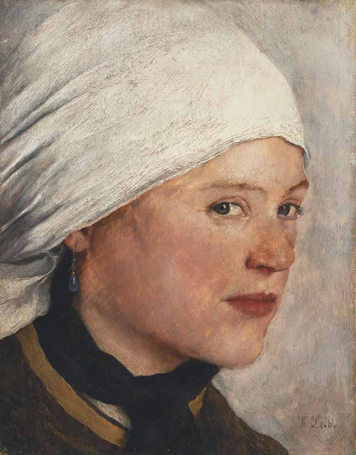 Girl with a White Headscarf (c. 1876), Wilhelm Leibl.