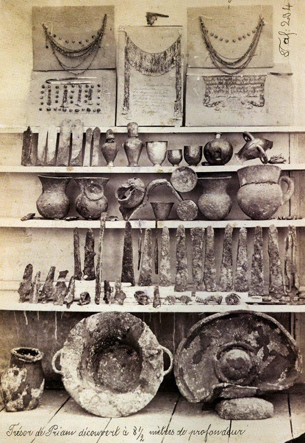 Heinrich Schliemann's photograph of Priam's Treasure, published in 'Atlas Trojanischer Alterthümer' (Atlas of Trojan Antiquities) in 1874.