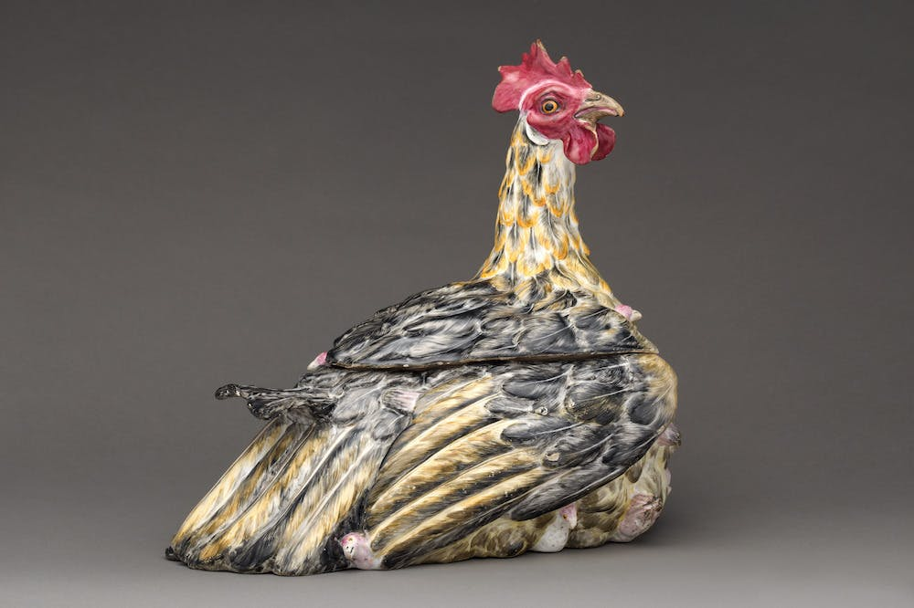 Tureen in the form of a woodcock (c. 1750), Germany, Höchst.