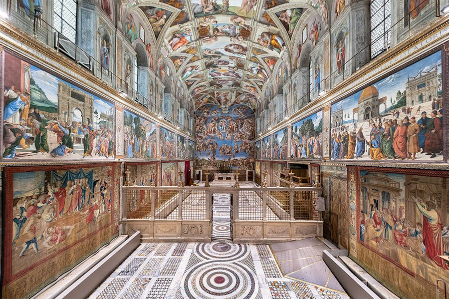 The Raphael tapestries hanging in the Sistine Chapel, Rome.