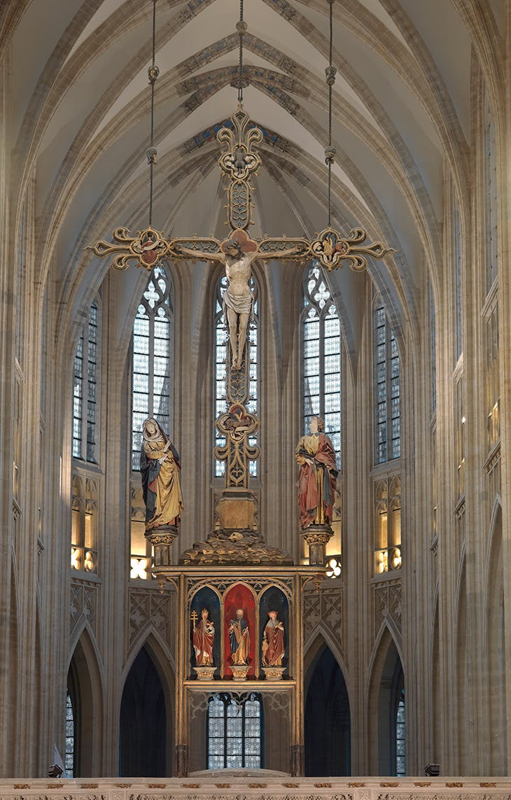 The Triumphal Cross (c. 1495) by Jan Borman (fl. 1479–1520), installed in St Peter's Church in Leuven. Photo: courtesy M Leuven