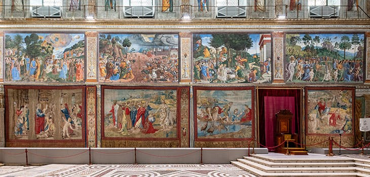 Tapestries illustrating the life of Peter, designed by Raphael, hanging in the Sistine Chapel, Rome, 2020.