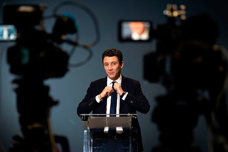 Former government spokesperson and La République en Marche (LREM) candidate for the upcoming Paris 2020 mayoral election Benjamin Griveaux is pictured as he announces his withdrawal from the mayoral campaign at AFP headquarters in Paris on February 14, 2020. Photo by LIONEL BONAVENTURE/AFP via Getty Images