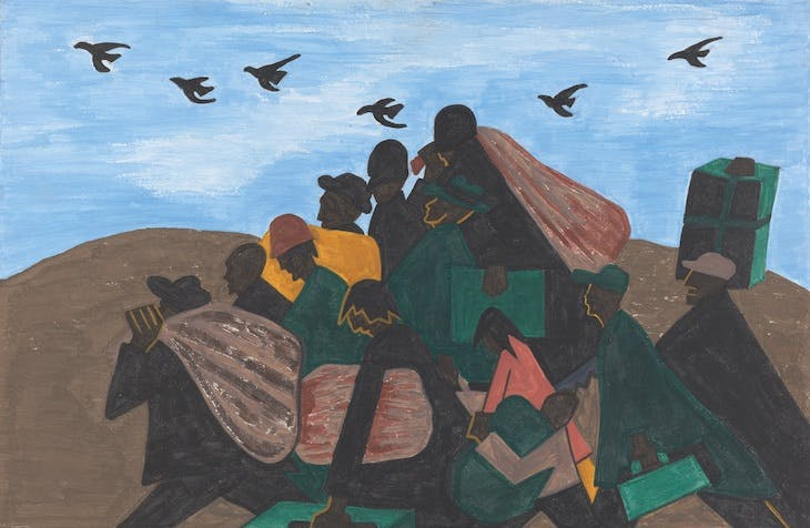 Panel 3 from The Migration Series, From every Southern town migrants left by the hundreds to travel north (1940–41), Jacob Lawrence.