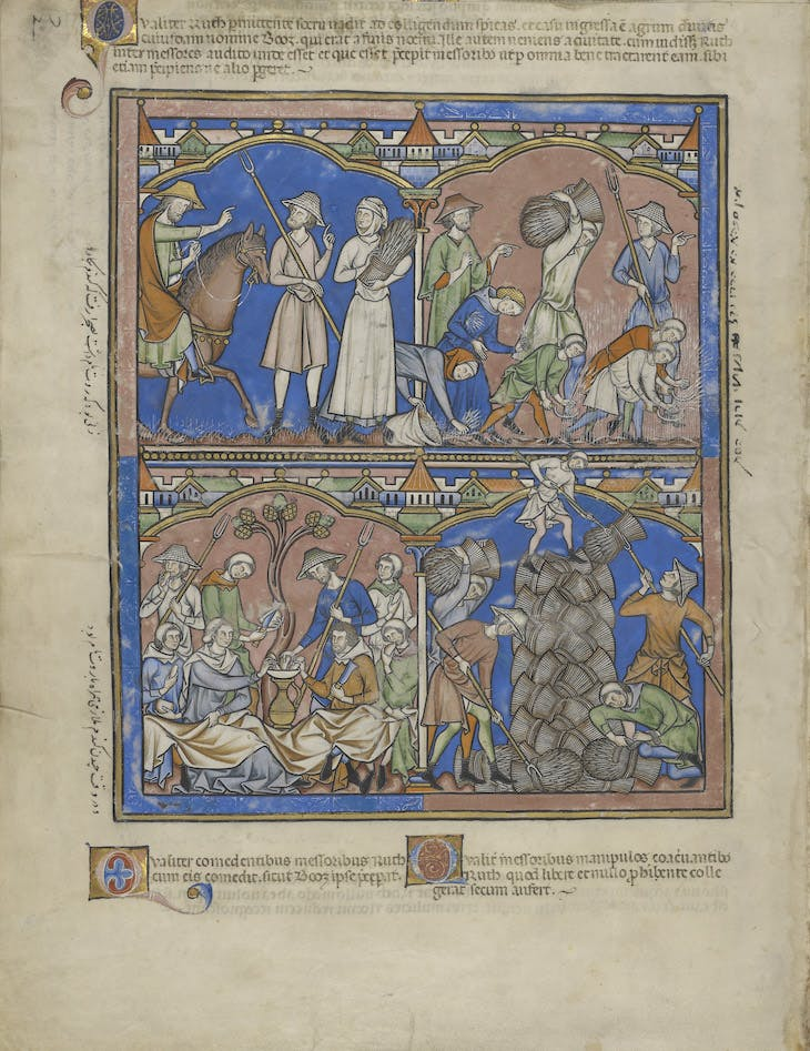 "Boaz Asks Ruth's Identity; Ruth Gleaning; Ruth Dines with Boaz; Workers Stacking the Crop of Boaz in ""Crusader Bible"" (c. 1250)."