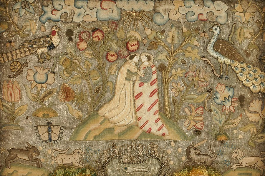 Textile panel depicting the Visitation (early 17th century), unknown English maker. © Ashmolean Museum, Oxford