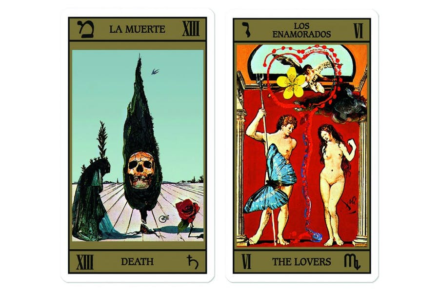Two of a deck of 78 tarot cards designed by Salvador Dalí and originally published in 1983–84.