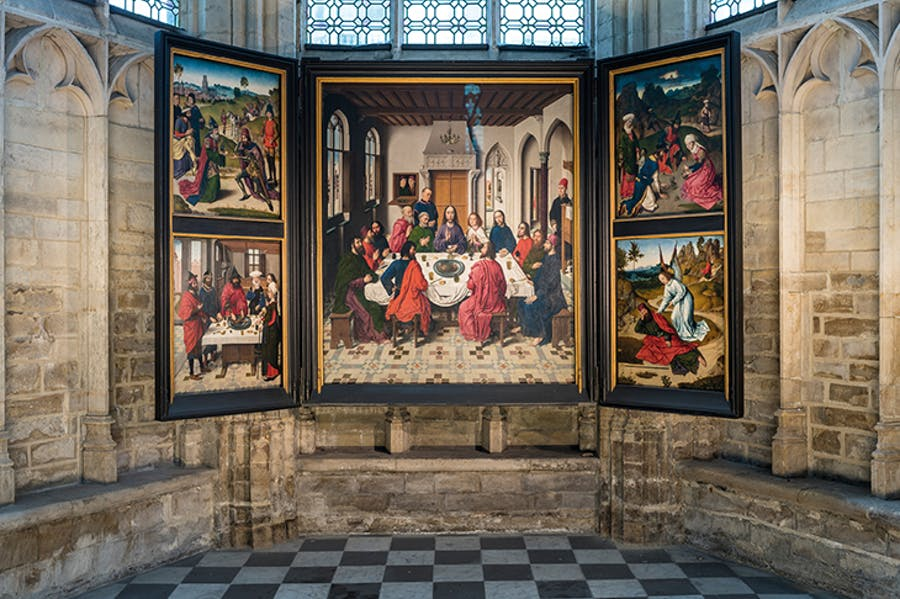View of The Last Supper (1464–68) by Dieric Bouts (c. 1415–75) in St Peter's Church, Leuven. Photo: Ⓒ Rudi Van Beek; courtesy M Leuven