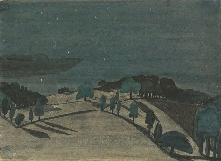 Moonlight Landscape (c. 1914), John Nash. Yale Center for British Art, New Haven; © Estate of John Nash