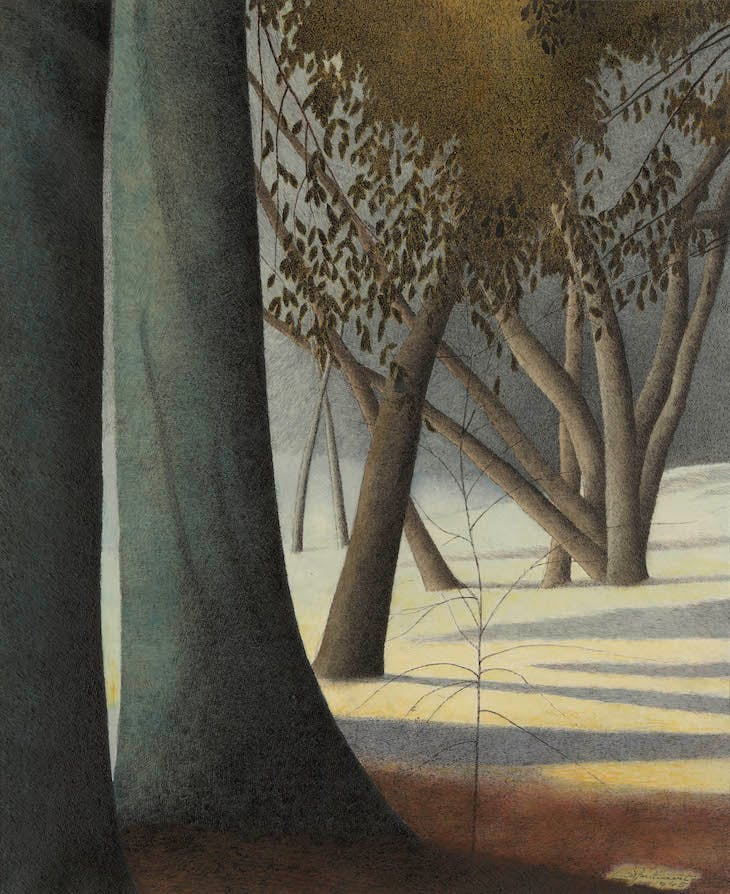 Beech Trunks. Shadows (1945), Léon Spilliaert.