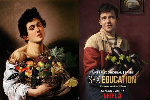 On the left is Caravaggio's Boy with a Basket of Fruit. On the right is Sex Education's Otis Milburn (Asa Butterfield)