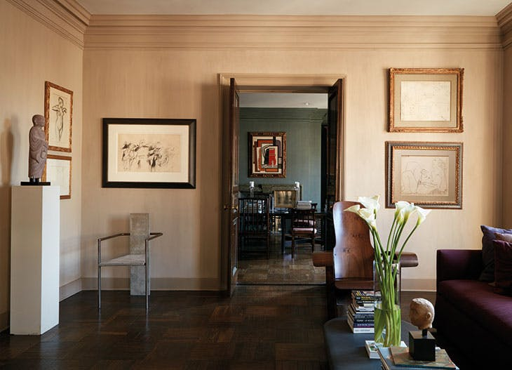 The living room in Kasper's Upper East Side apartment, showing drawings by Degas, de Kooning, Picasso and Matisse, and (through the doorway) Léger's Femme à la Toilette (1925).