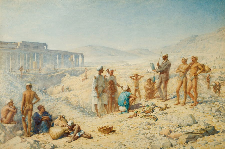 Flinders Petrie Admiring a Find, the Ramesseum, Western Thebes (1895), Henry Wallis. Courtesy University College London Art Museum