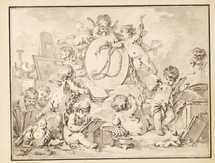 Frontispiece of the Catalogue de Tableaux de Mr Julienne (c. 1756), Jean-Baptiste-François de Montullé.