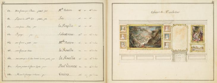Pages 45–46 of the catalogue, with watercolour miniatures of paintings by David Teniers, Rosalba Carriera and Salvator Rosa.