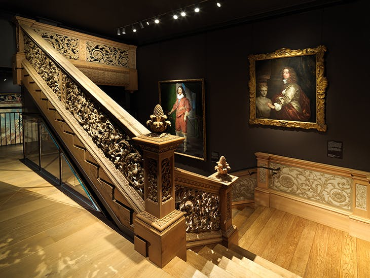 The Cassiobury staircase in the 17th-century gallery.