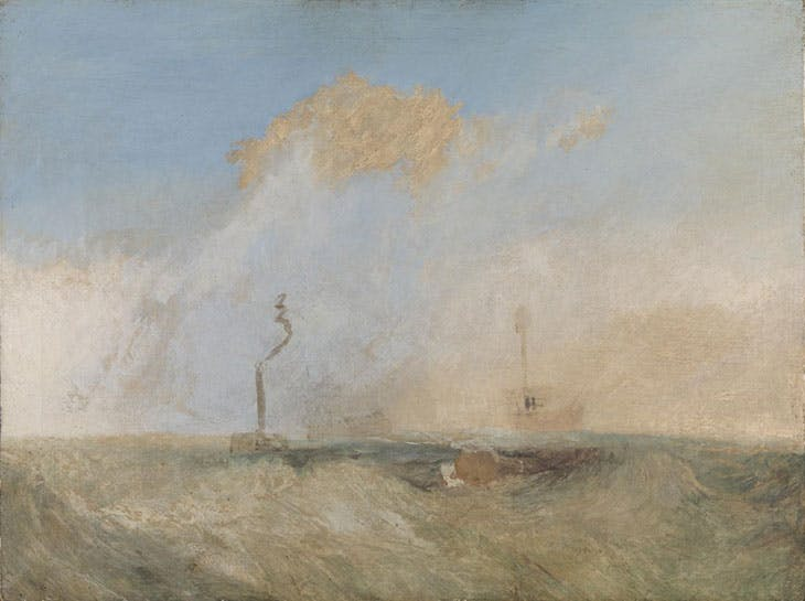 Steamer and Lightship (c. 1825–30), J.M.W. Turner. Tate, London. Currently on view in 'The Sea and the Alps: Turner's Quest for the Sublime' at Frist Center for the Visual Arts, Nashville.